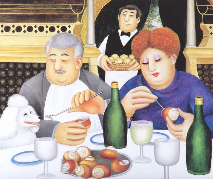 """""""Escargot Pour Trois,"""" by Beryl Cook."""